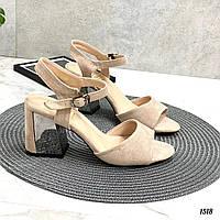 Женские босоножки бежевые - беж на каблуке 10 см эко-замш, фото 1