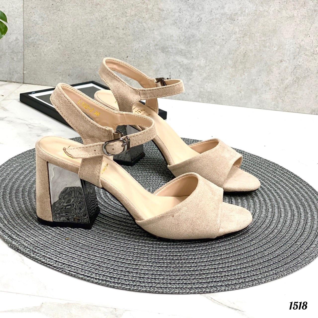 Женские босоножки бежевые - беж на каблуке 10 см эко-замш