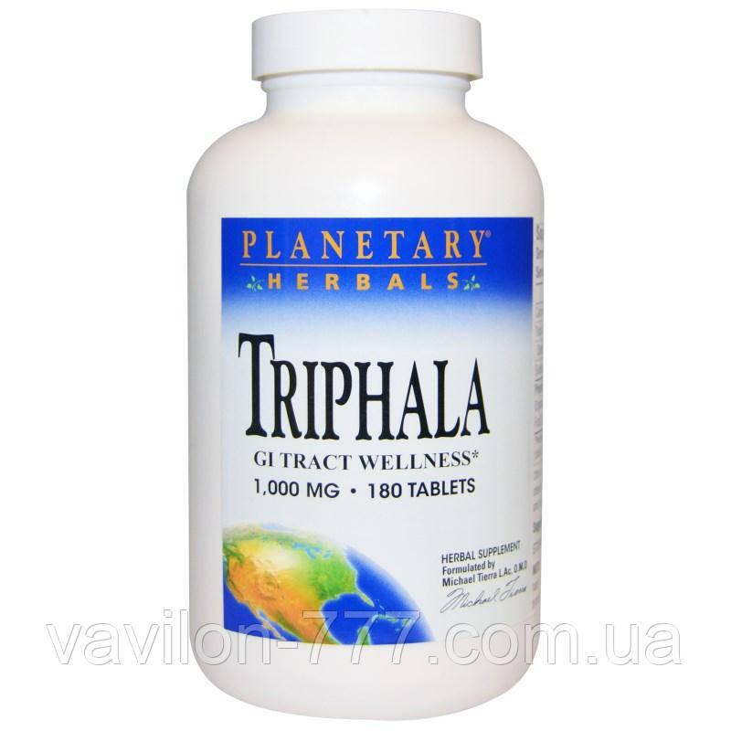 Трифала, здоровье желудочно-кишечного тракта, 1,000 мг, 180 таблеток Planetary Herbals
