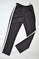 Детские школьные брюки с лампасами для девочек 5-15лет черные