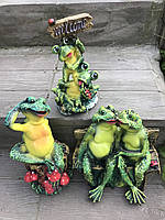 Комплект из 3 шт садовых фигур Лягушки (32 см, 36 см, 30 см), фото 1