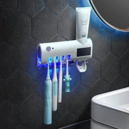 Стерилизатор для зубных щеток на 4 секции с дозатором Multi-function Toothbrush Sterilizer (UV стерилизатор)