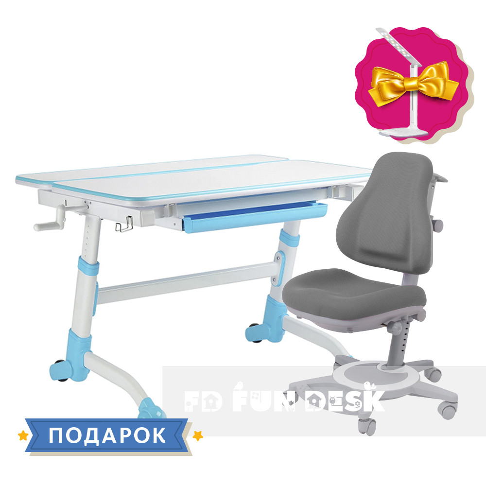 Комплект парта  FunDesk Volare Blue + детское кресло FunDesk Bravo Grey