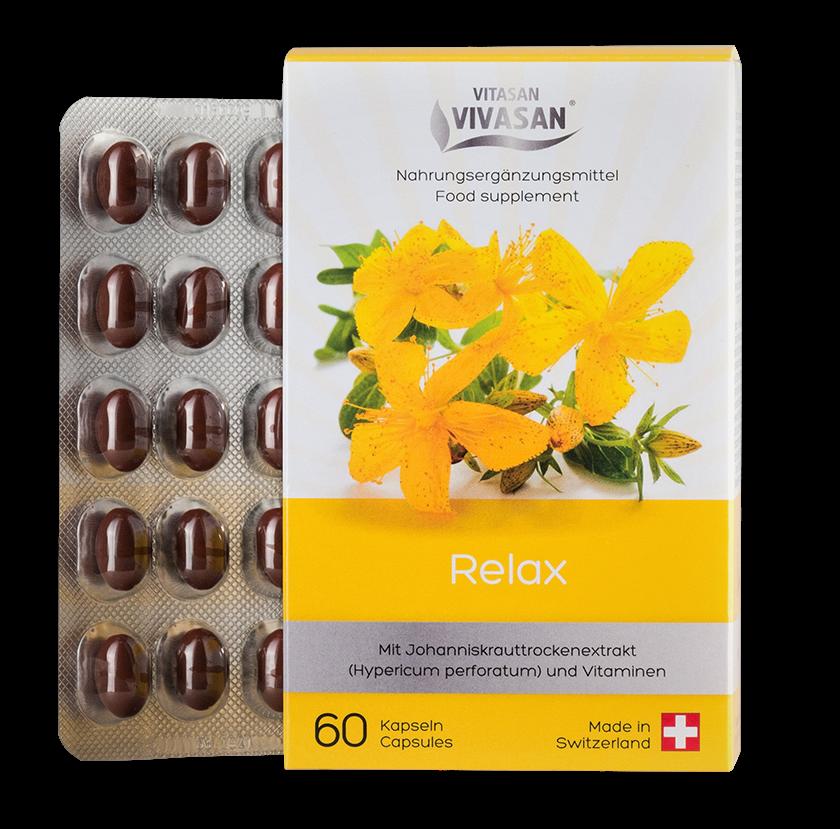 Релакс  Вивасан зверобой с витаминами В и С швейцарский натуральный 60 капс