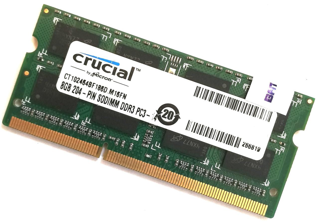 Оперативная память для ноутбука Crucial SODIMM DDR3 8Gb 1866MHz 14900s 2R8 CL11 (CT102464BF186D.M16FN) Б/У