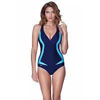 Женский цельный купальник Aqua Speed Greta 40 Темно-синий с голубым aqs073, КОД: 961597