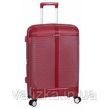 Средний пластиковый чемодан из полипропилена бордовый с расширителем Snowball Франция, фото 2