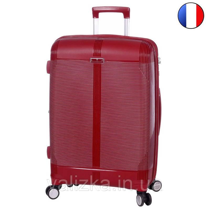 Средний пластиковый чемодан из полипропилена бордовый с расширителем Snowball Франция