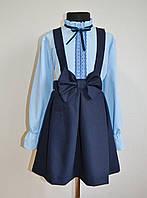 Юбка со шлейками школьная для девочек, 116-122 размер синего цвета, фото 1