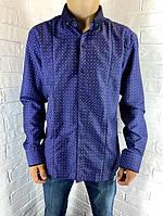 Рубашка мужская Bendu 50406 синяя L