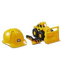 Игровой набор Caterpillar Construction Fleet каска, бульдозер, грабли и лопатка, фото 1