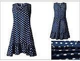 Платье женское летнее свободное  в горошек. Сарафан на лето оверсайз (темно-синий) L, фото 3