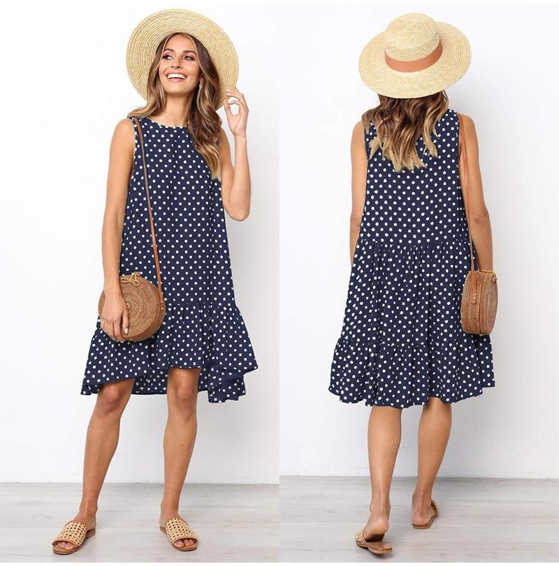 Платье женское летнее свободное  в горошек. Сарафан на лето оверсайз (темно-синий) L