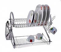 Настольная сушилка для посуды (2 яруса) 56 см Edenberg EB-2109 с поддоном, фото 1