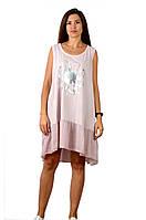 Бавовняний асиметричний літній жіночий сарафан 10813-Z пудрового кольору L/XL