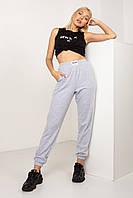 Легкие летние женские трикотажные спортивные штаны серый меланж