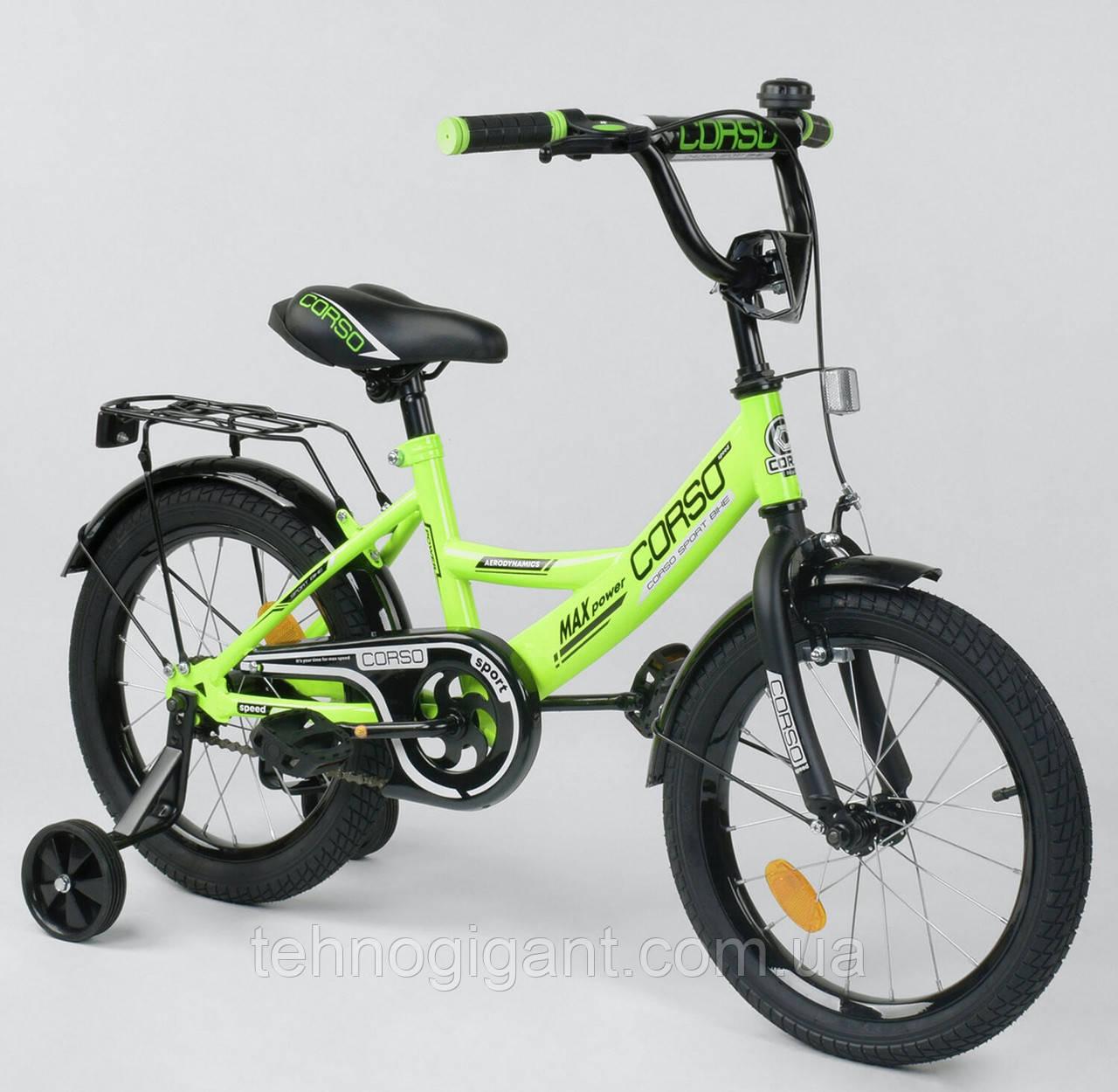 Велосипед детский двухколесный 16 Зеленый, CORSO CL-16, 4-6 лет, боковые колеса, ручной тормоз, багажник