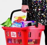 Корзина покупательская пластиковая 34 л на колесах с телескопической ручкой ARAVEN SHOP & ROLL, фото 5