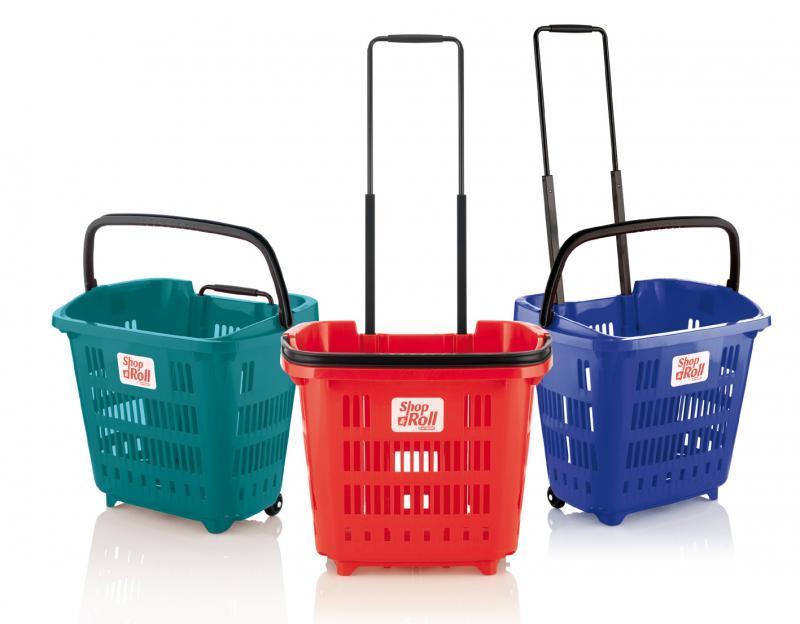 Корзина покупательская пластиковая 34 л на колесах с телескопической ручкой ARAVEN SHOP & ROLL