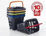 Корзина покупательская пластиковая 34 л на колесах с телескопической ручкой ARAVEN SHOP & ROLL, фото 8