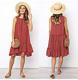 Платье женское летнее свободное в горошек. Сарафан на лето оверсайз (красный), фото 2