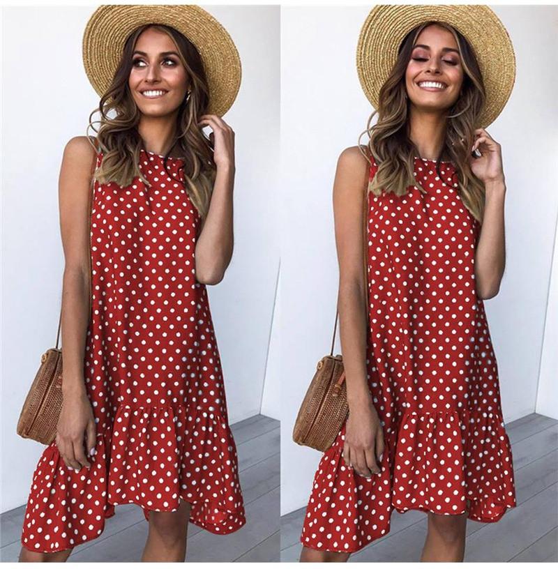 Платье женское летнее свободное в горошек. Сарафан на лето оверсайз (красный)