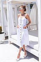 Женский стильный легкий летний миди сарафан на пуговицах белый,бежевый или кирпичный ткань софт
