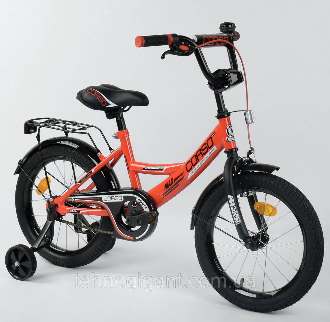 Велосипед детский двухколесный 16 Красный, CORSO CL-16, 4-6 лет, боковые колеса, ручной тормоз, багажник