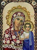 Алмазная вышивка на подрамнике, Икона Божией Матери, 24х33 см, зеркальные стразы
