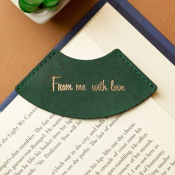 "Закладка для книги з натуральної шкіри ""FROM ME WITH LOVE"""
