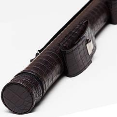 Тубус для кия 2 кармана на замке шоколадный крокодил