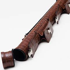 Тубус для кия 2 кармана на замке коричневый крокодил