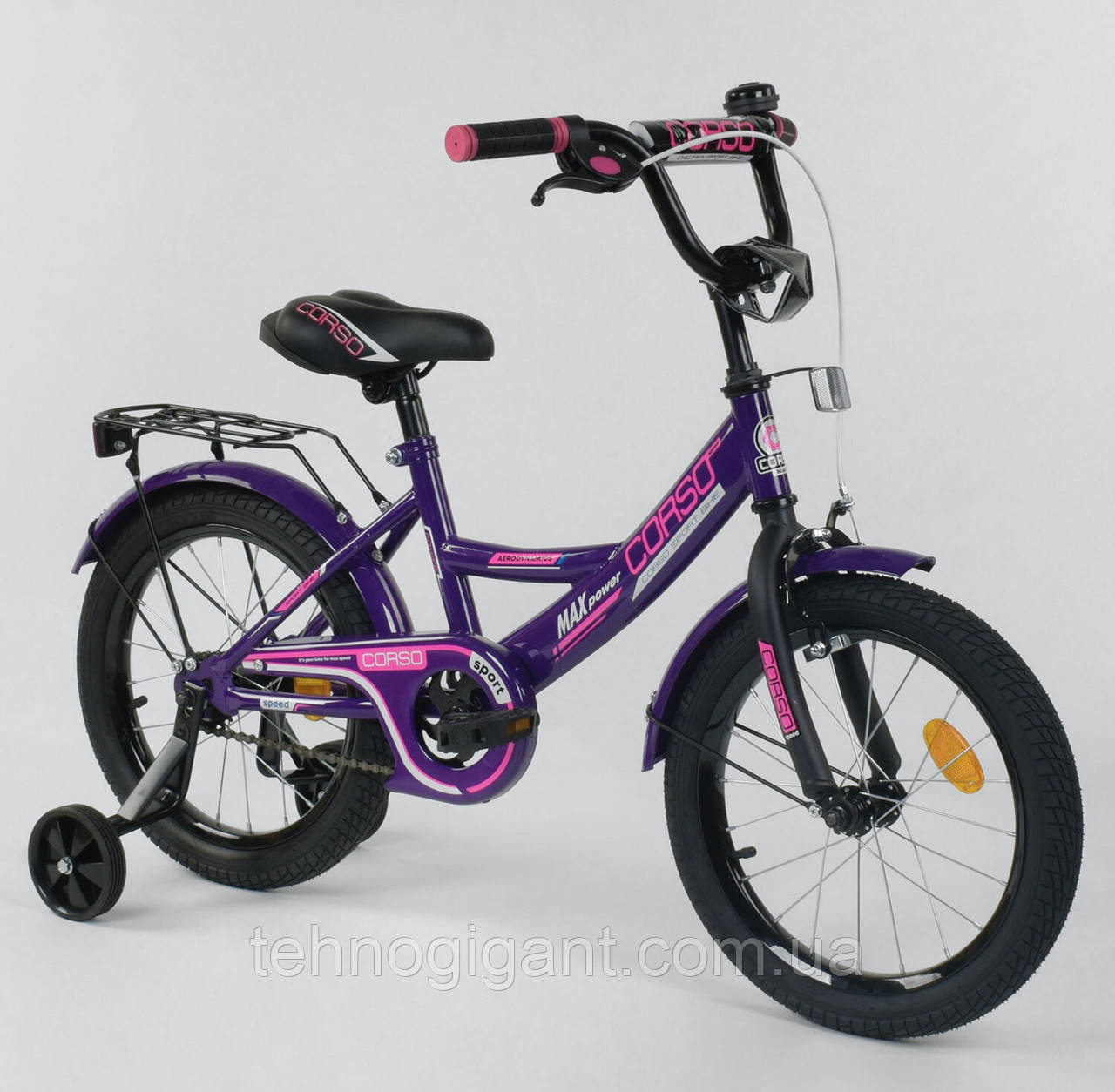 Велосипед детский двухколесный 16 Фиолетовый, CORSO CL-16, 4-6 лет, боковые колеса, ручной тормоз, багажник