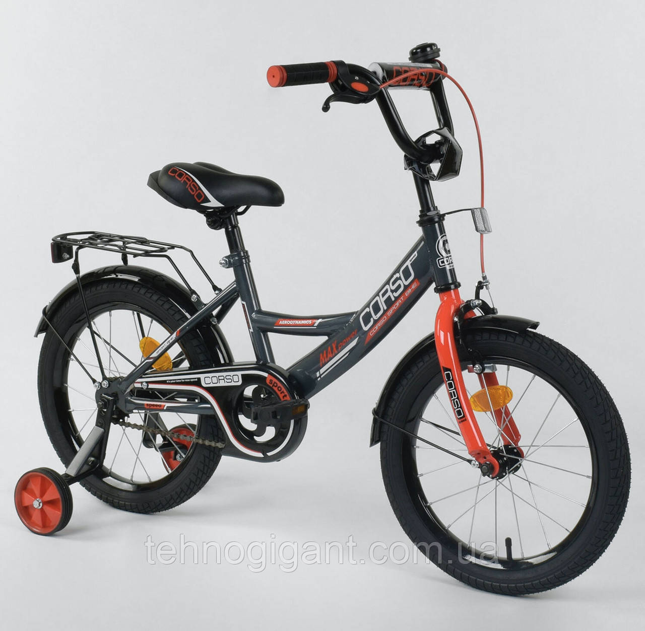 Велосипед детский двухколесный 16 Серый, CORSO CL-16, 4-6 лет, боковые колеса, ручной тормоз, багажник