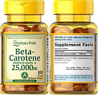 Puritan's Pride, Бета-каротин, Витамин А, Провитамин А, Вит А, Beta-Carotene, Vitamin A, 25000 МЕ, 100 капсул