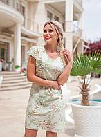 Платье короткое яркое молодежное легкое Фисташковый2, фото 1