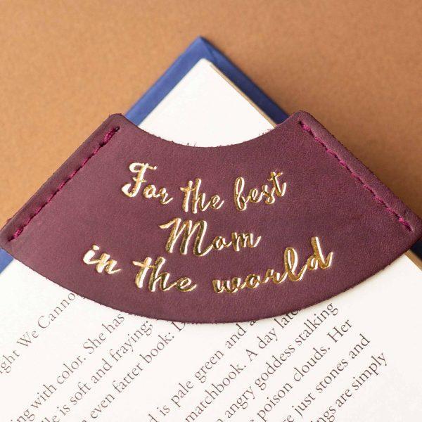 """Закладка для книги з натуральної шкіри """"Для кращої мами у світі"""""""