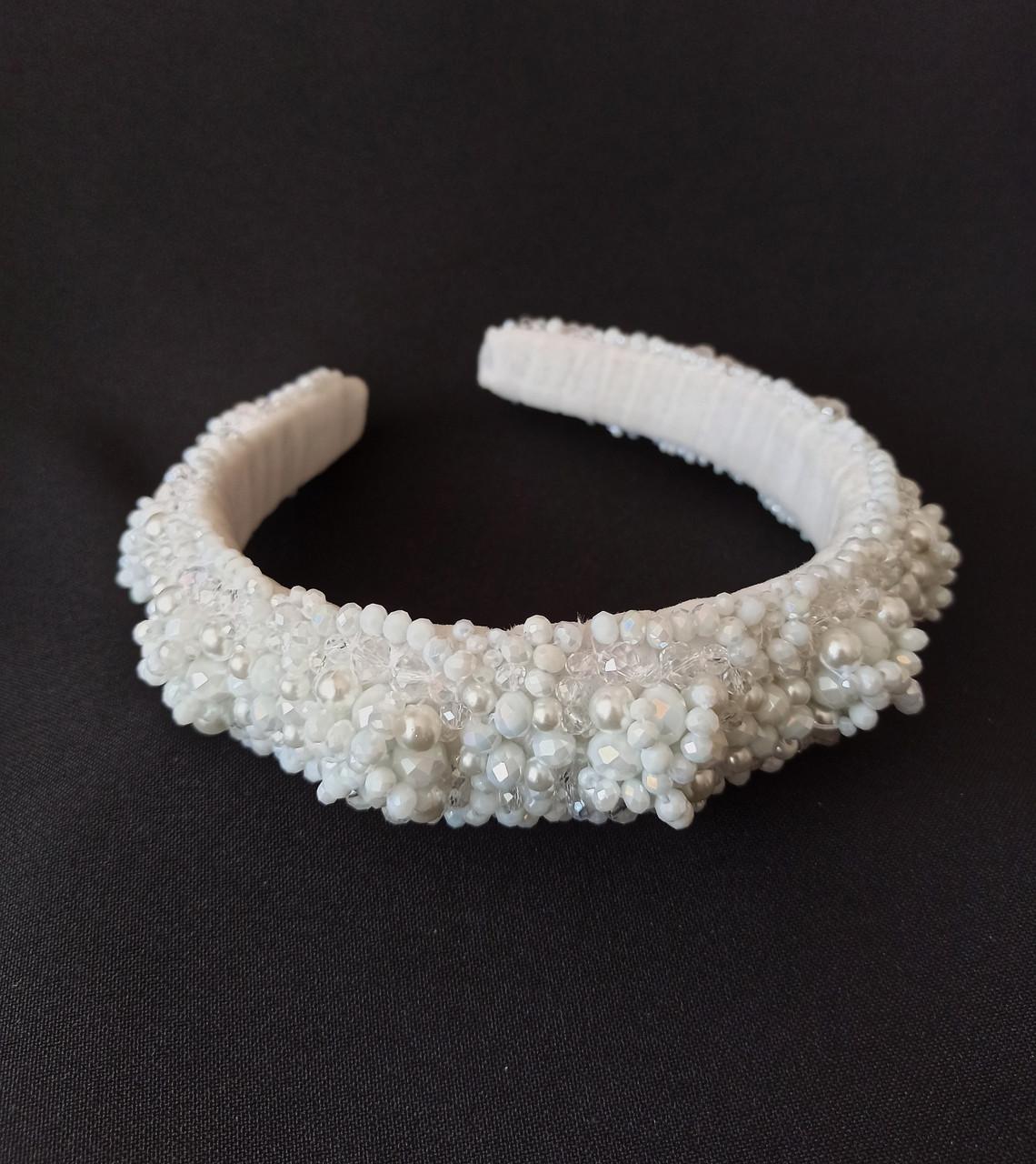 Обруч-ободок для волос Ksenija Vitali Wedding White OB-0008