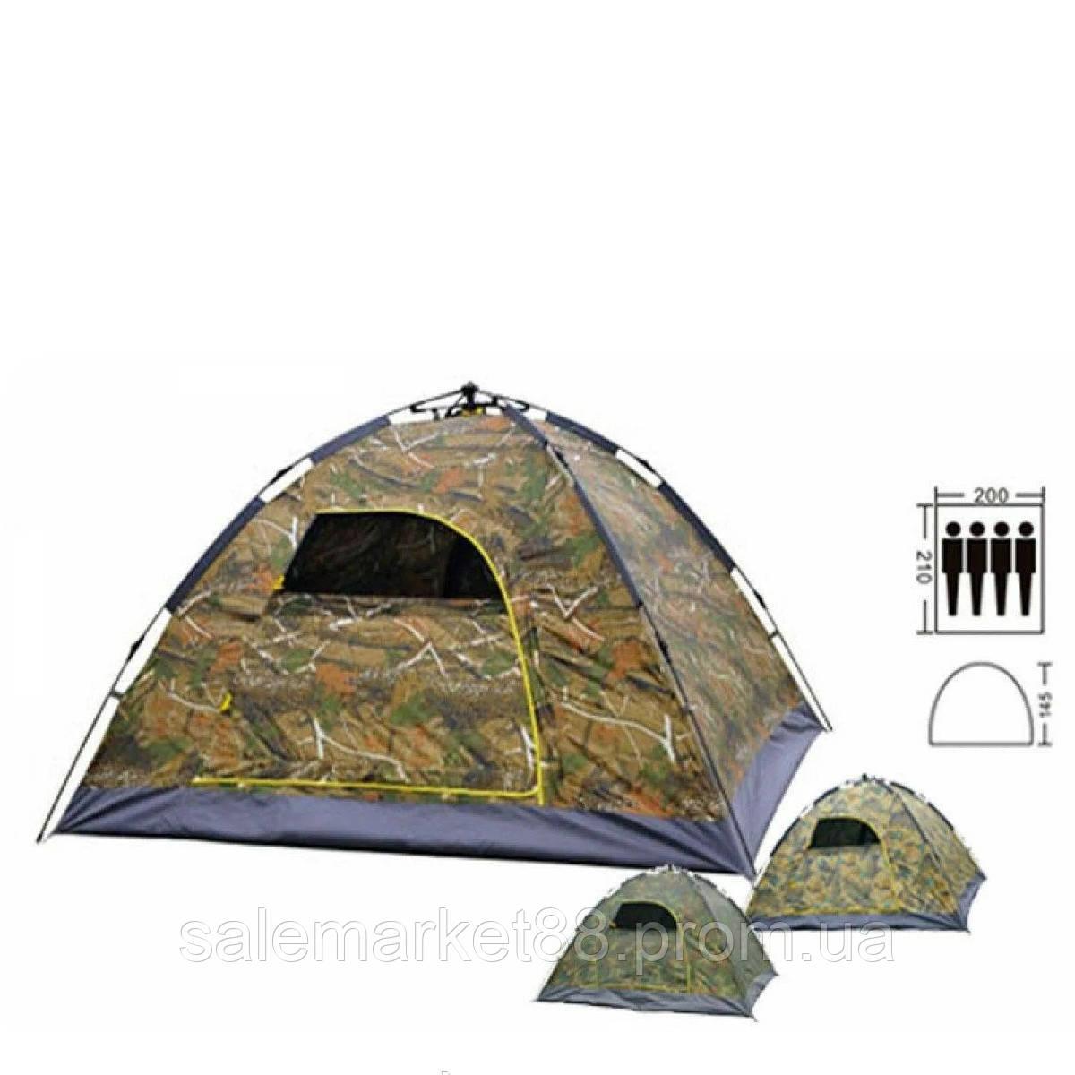 Туристическая палатка 4-х местная с автоматическим каркасом 200x210x145 см