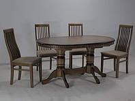 Обеденный комплект стол и 4 стула  Клевер Мебель 1200х760х800 мм Темный орех hubzzJZ54730, КОД: 1787057