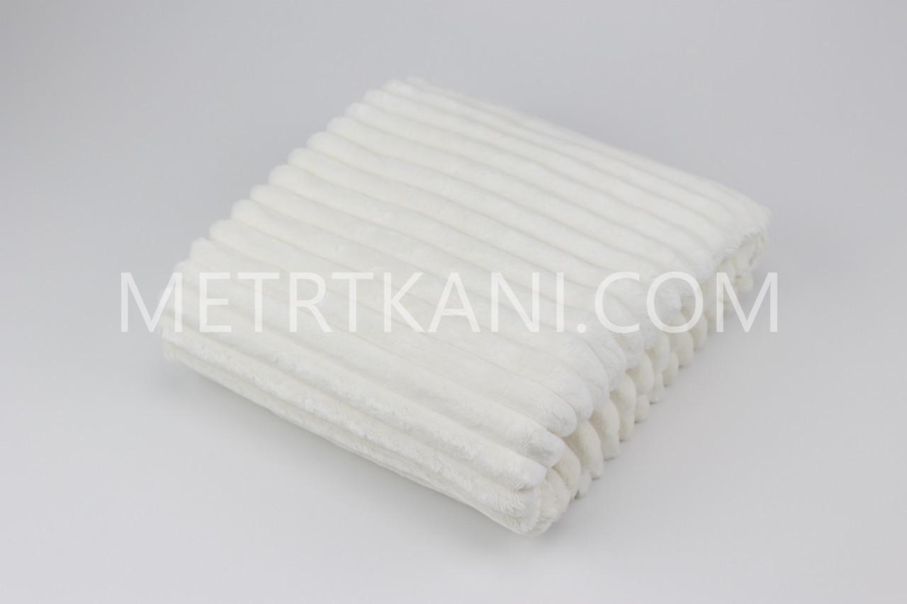 Лоскуток. Minky Stripes плюш белого цвета  55*65 см.