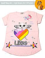 """Красивая футболка  для девочки """"Likee кошка"""" (от 5 до 8 лет)"""