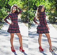 Темное платье 15873 с красной полосой