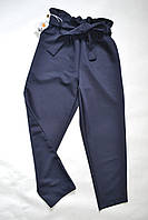 Детские классические брюки для девочек 6-10лет темно-синего цвета