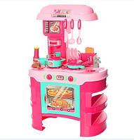Игровая детская кухня розовая 35 аксессуаров, высота 69 см
