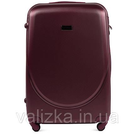 Большой пластиковый чемодан с фурнитурой в цвет бордовй, фото 2
