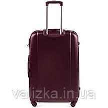 Большой пластиковый чемодан с фурнитурой в цвет бордовй, фото 3