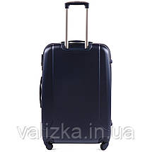 Большой пластиковый чемодан с фурнитурой в цвет синий, фото 3