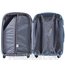 Большой пластиковый чемодан с фурнитурой в цвет темно-серый, фото 2