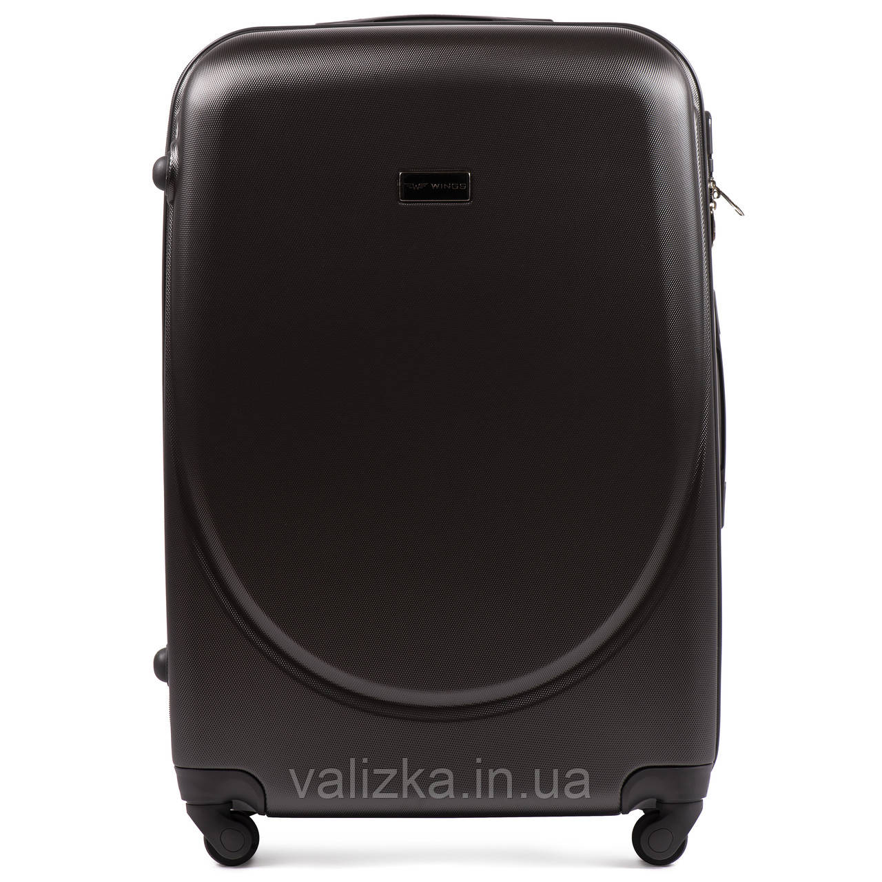 Большой пластиковый чемодан с фурнитурой в цвет темно-серый